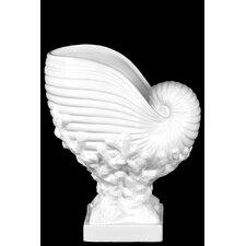 Ceramic Nautilus Seashell on Coral Pedestal Gloss White