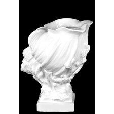 Ceramic Conch Seashell on Coral Pedestal Gloss White