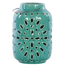 Ceramic Lantern with Metal Handle Gloss Turquoise