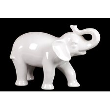 Ceramic Trumpeting  Elephant Gloss White