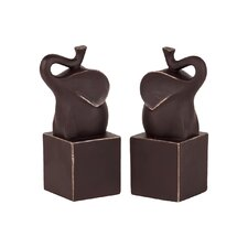 Resin Trumpeting Elephant on Cube Platform Bookend (Set of 2)