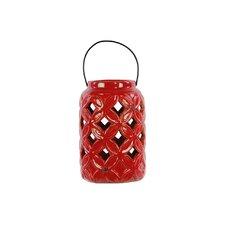 Ceramic Lantern with Metal Handle Gloss White