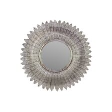 Metal Accent Wall Mirror with Radial Wreath Design Silver
