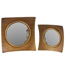 2 Piece Wood Wall Mirror Set in Antique Gold