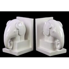 Ceramic Elephant Box Stand Bookend (Set of 2)