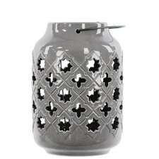 Ceramic Lantern with Metal Handle, Octagram and 4-Point Star Design