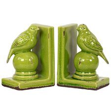 Stoneware Bird Bookend Set of Two Turquoise (Set of 2)