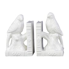 Ceramic Parakeet on a Tree Branch Bookend Set White (Set of 2)