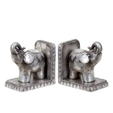Resin Trumpeting Circus Elephant Bookend (Set of 2)