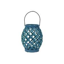 Ceramic Lantern with Handle Gloss Steel Blue