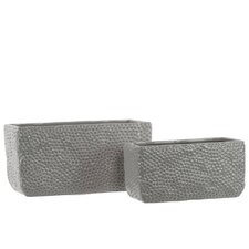 Ceramic Rectangular Uneven Pots Set of Two Dimpled Gloss Light Gray