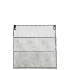 Metal Organizer Wall Hanger with Mesh Sides and  2 Shelves