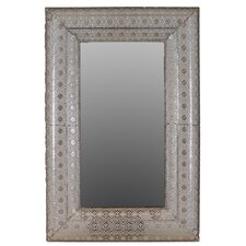 Metal Rectangular Wall Mirror Pierced Metal Silver