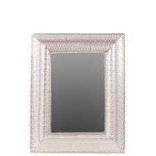 Metal Wall Mirror Pierced Polished Silver