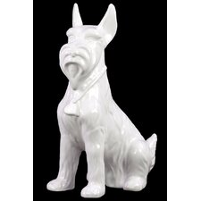 Ceramic Sitting Scottish Terrier Dog with Pricked Ears Gloss Black