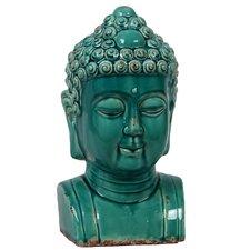 Ceramic Buddha Bust Antique Green