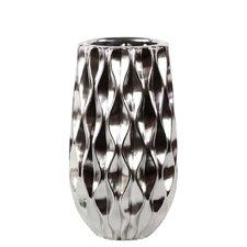 Ceramic Vase with Embossed Wave Design SM Polished Chrome Silver