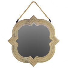 Wood Mirror with Rope Hanger Natural Wood Finish