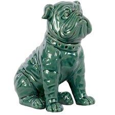 Ceramic Sitting American Bulldog Gloss Turquoise