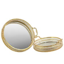 2 Piece Round Tray with Mirror Surface and Handles Set