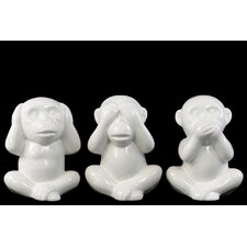 3 Piece Sitting Monkey No Evil (Speak/Hear/See) Figurine Set