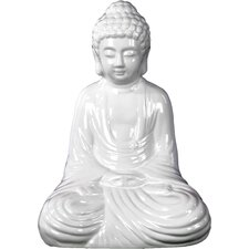 Ceramic Meditating Buddha in Dhyana Mudra Gloss White