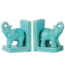 Ceramic Standing trumpeting Elephant on Base Bookend (Set of 2)