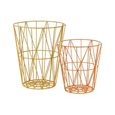 2 Piece Metal Round Tapered Basket Set