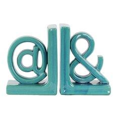 """2 Piece Ceramic Alphabet Sculpture """"@&"""" Bookend Set"""