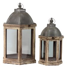2 Piece Wood Lantern Set with Cast Iron Top