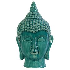 Ceramic Buddha Head Gloss Cyan