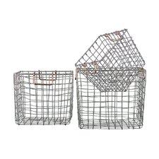 3 Piece Square Nesting Wire Basket Set