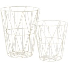 2 Piece Metal Round Tapered Basket Set