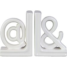 "2 Piece Ceramic Alphabet Sculpture ""@&"" Bookend Set"