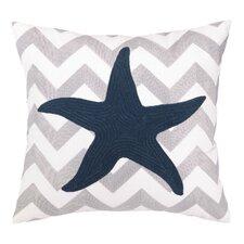 Nautical Embroidery Seastar Cotton Throw Pillow