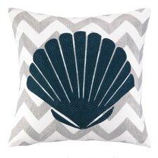 Nautical Embroidery Seashell Cotton Throw Pillow