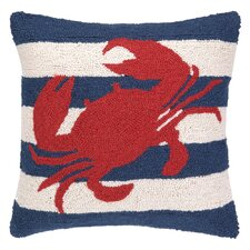Nautical Hook Crab Stripe Throw Pillow
