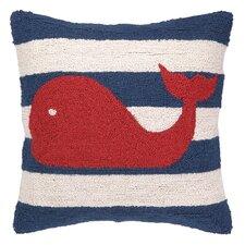 Nautical Hook Whale Stripe Throw Pillow