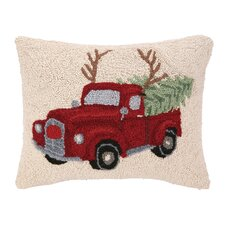 Tree Haul Reindeer Hook Wool Throw Pillow