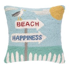 Beach Happiness Seagull Hook Wool Throw Pillow