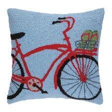Flip Flop on Bike Hook Wool Throw Pillow