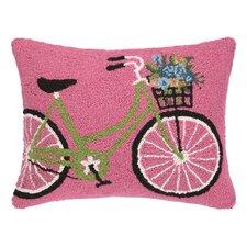 Bike with Flowers Hook Wool Lumbar Pillow