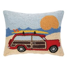 Wagon at the Beach Hook Wool Lumbar Pillow