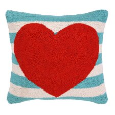 Heart with Stripe Hook Wool Throw Pillow