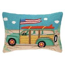 Going Places Beach Wagon Hook Wool Lumbar Pillow