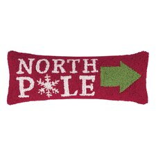 This Way North Pole Hook Wool Throw Pillow