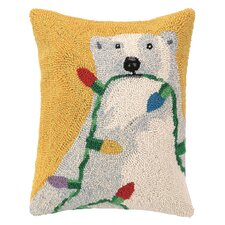 Polar Bear Lights Hook Wool Throw Pillow