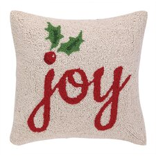 Joy with Holly Hook Wool Throw Pillow