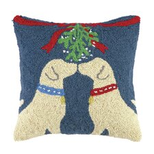 Lab Under Mistletoe Hook Wool Throw Pillow