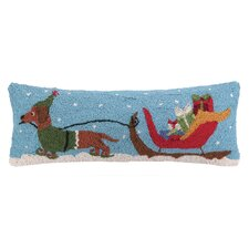 Santa's Sleigh Dachshund Hook Wool Throw Pillow